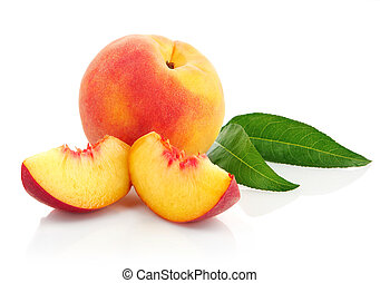 fresh peach fruits with green leaves - fresh peach fruits...