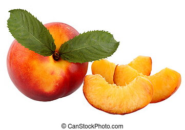 fresh peach fruits with green leave