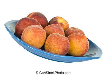 Fresh Peaches On Blue Plate