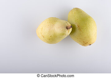 fresh pear closeup on a white background