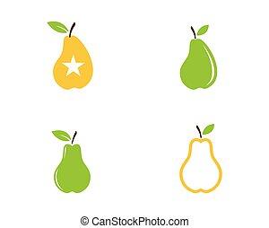 fresh Pear Fruit Food Vector Illustration