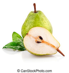 fresh pear fruits with cut and green leaf