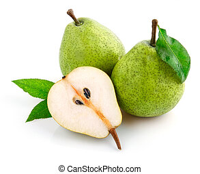 fresh pear fruits with cut and green leaves