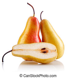 fresh pear fruits with cut