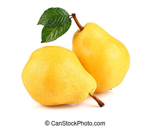 Fresh pear with leaves