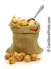 fresh pearl onions in a burlap sack