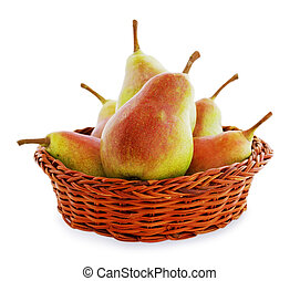 pears in a wicker basket
