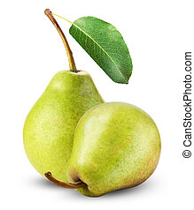 Fresh pears isolated on a white background.