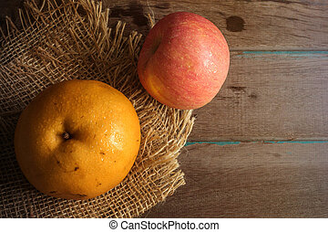 Fresh pears on a wooden