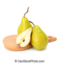 Fresh pears on cutting board