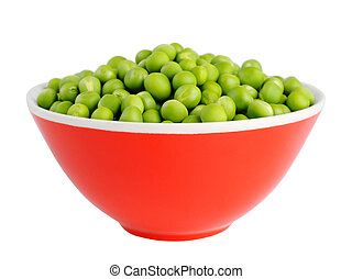 Fresh peas in bowl isolated on white background
