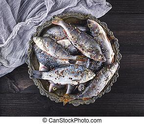 fresh peeled fish perch and carp