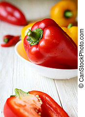 fresh pepper in a white bowl