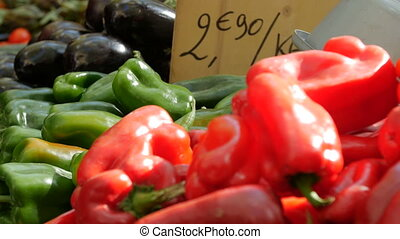 Fresh peppers on display in market