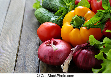 fresh peppers, onions and other vegetables