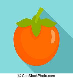 Fresh persimmon icon, flat style