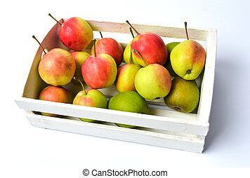 Fresh picked apples in a wooden box