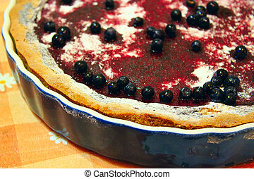 pie with bilberry on the plate