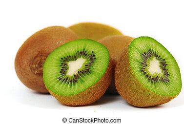 Fresh piece kiwi fruit isolated on white background