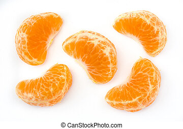 Fresh pieces tangerine isolated on white background. Top view