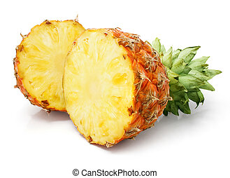 fresh pineapple fruit with cut and green leaves - fresh...