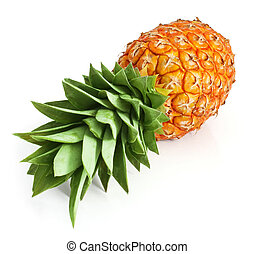 fresh pineapple fruit with cut and green leaves isolated on...