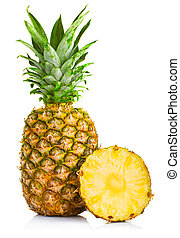 Fresh pineapple fruits with cut and green leaves isolated on whi