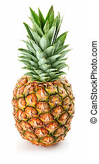 fresh pineapple fruits with green leaf