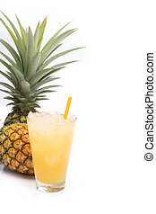 Fresh pineapple juice in the glass isolated on white background