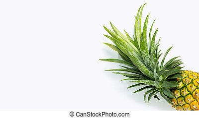 Fresh pineapple on white background.