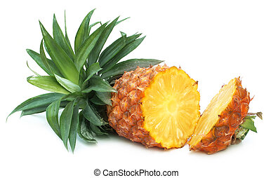 Fresh Pineapple close up over white background