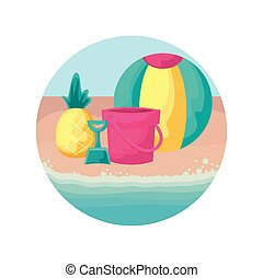 fresh pineapple with ball and bucket in beach