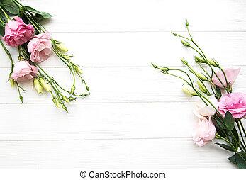 Fresh pink eustoma flowers