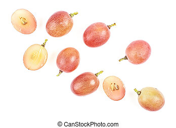 Fresh pink grapes on a white background, top view.