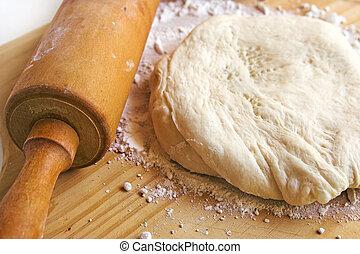 pizza dough - fresh pizza dough and rolling pin