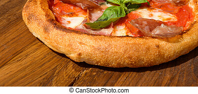 Fresh pizza on a thick dough