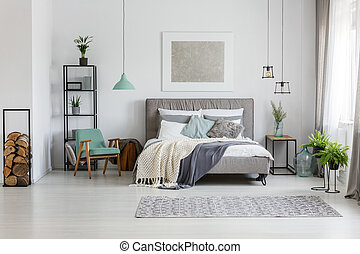 Fresh potted plants in bright room poster above the bed
