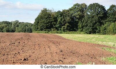 fresh plowed field pan - panoramic view of fresh plough...