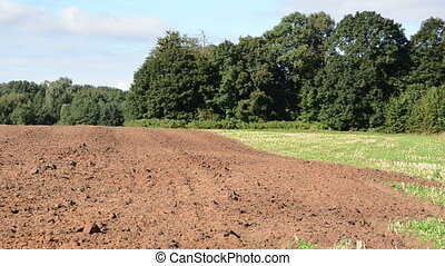 fresh plowed field pan - panoramic view of fresh plough...