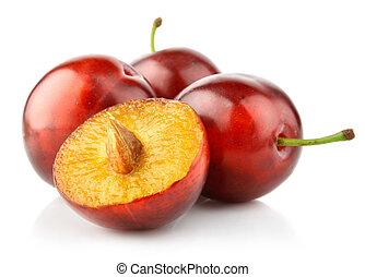 fresh plum fruits isolated on white