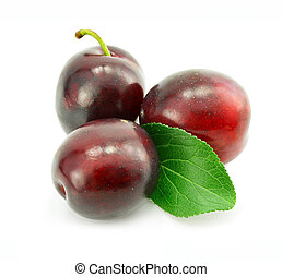 fresh plum fruits with green leaf isolated