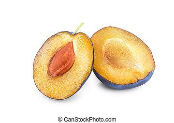 fresh plum half isolated on white background