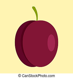 Fresh plum icon, flat style