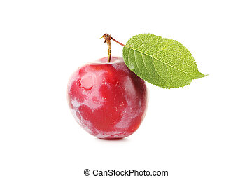 Fresh plum isolated on a white