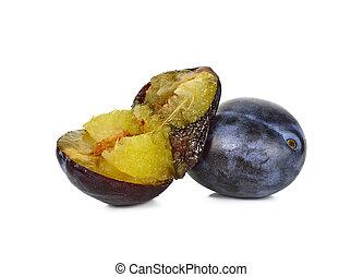 Fresh plum isolated on the white background