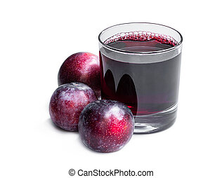 Fresh plum juice isolated on white background
