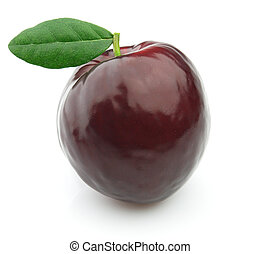 Fresh plum with leaves