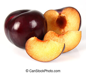 Fresh plum with slices
