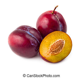 Fresh plums isolated on white