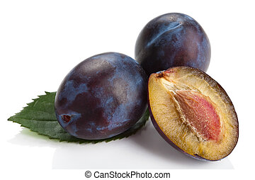 fresh plums isolated